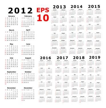 Calendar - 2012 - 2019 - Basic