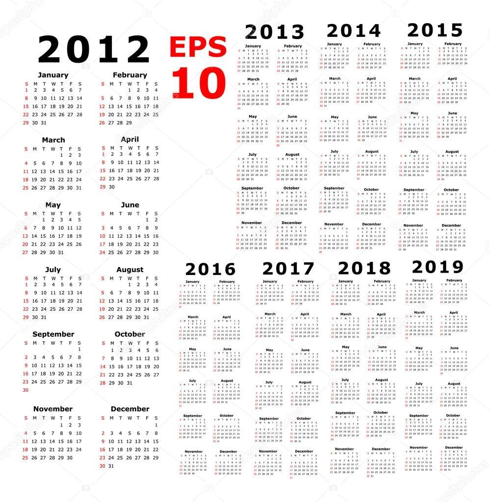 calendar 2012 2019 basic stock vector paulstringer 53825105