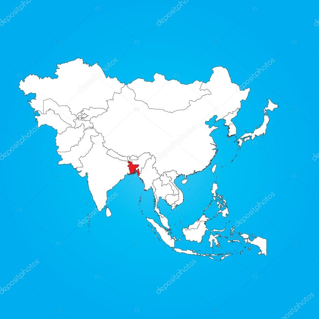 Bangladesh On Map Of Asia.Map Of Asia With A Selected Country Of Bangladesh Stock Photo