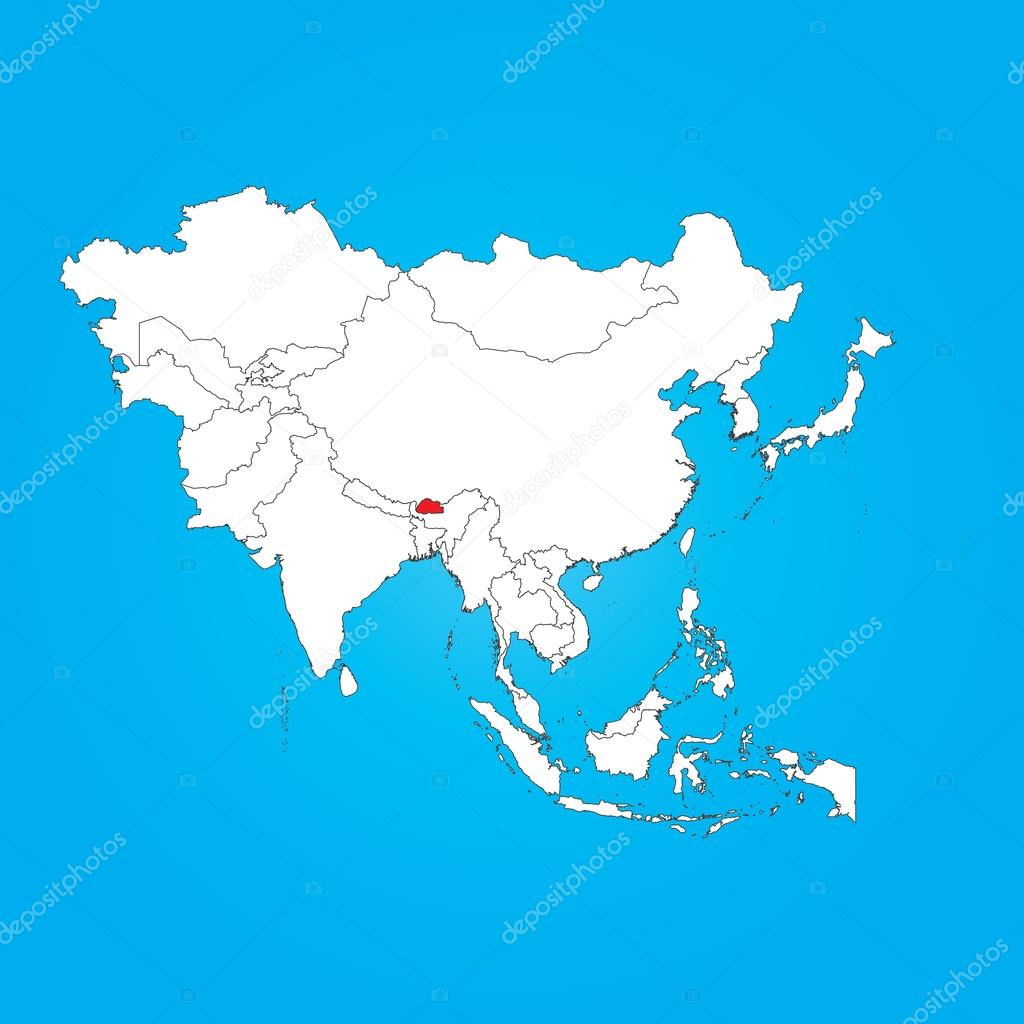 Map Of Asia Bhutan.Map Of Asia With A Selected Country Of Bhutan Stock Photo