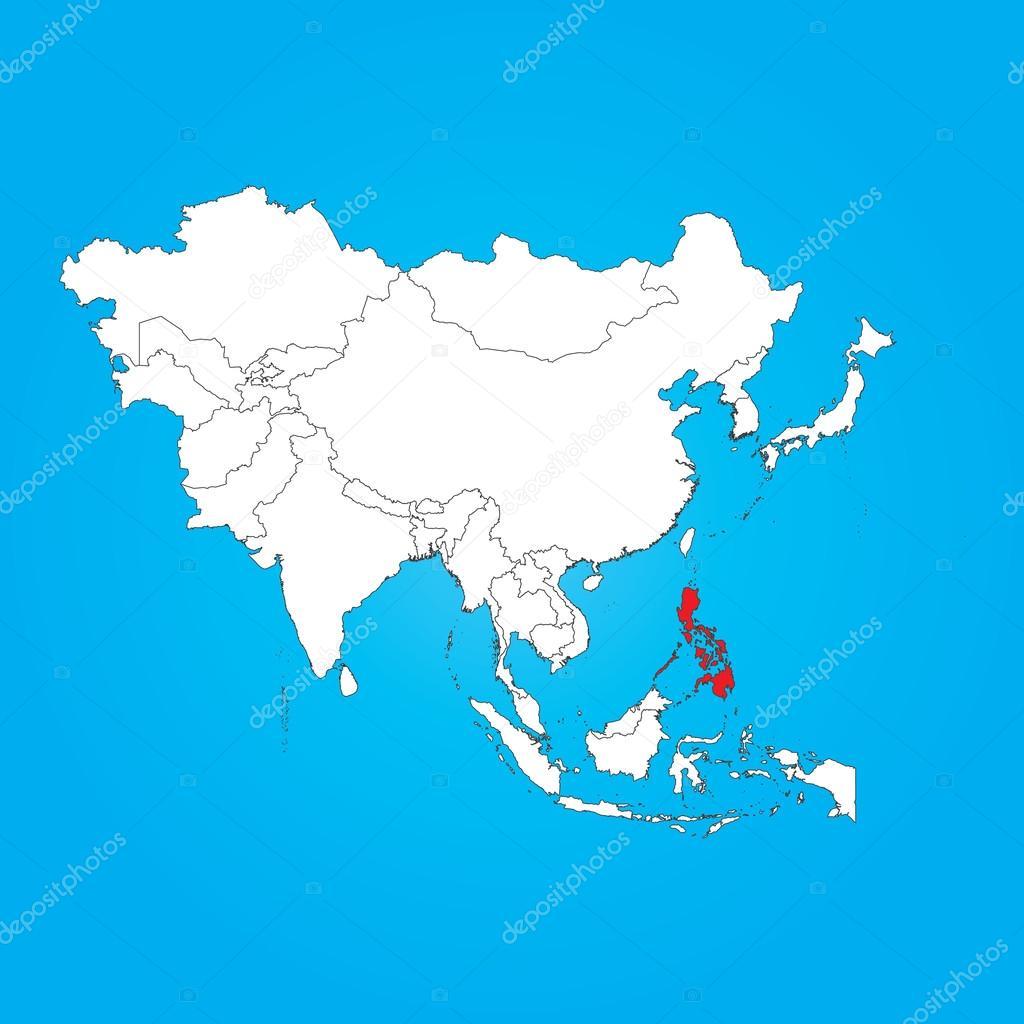 mapa filipinas asia Mapa de Asia con un país seleccionado de Filipinas — Fotos de  mapa filipinas asia