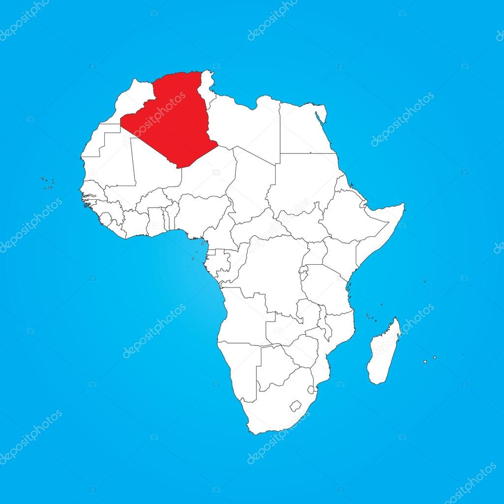 Map of Africa with a selected country of Algeria Stock Photo
