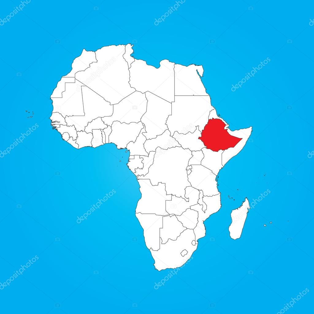 Map of Africa with a selected country of Ethiopia Stock Photo