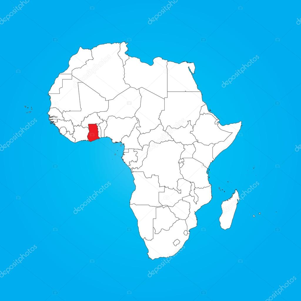 Ghana In Africa Map.Map Of Africa With A Selected Country Of Ghana Stock Photo