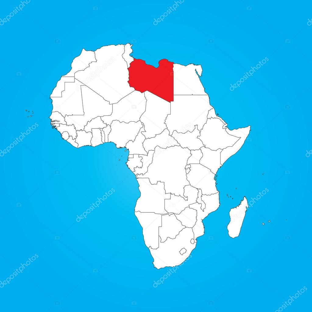 Map of Africa with a selected country of Libya Stock Photo