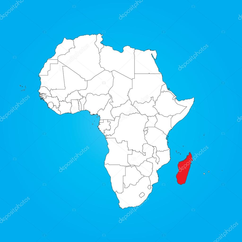 Map of Africa with a selected country of Madagascar Stock Photo