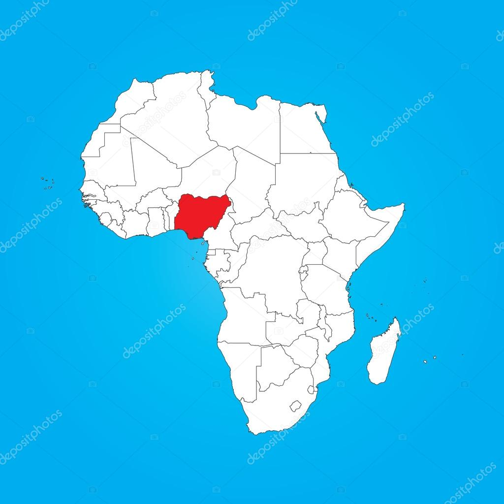 Map Of Africa With A Selected Country Of Nigeria Stock Photo
