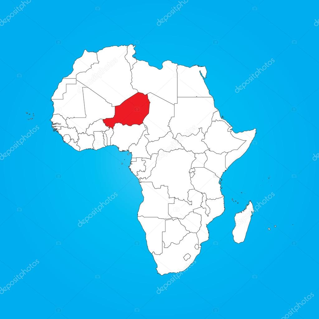 Map Of Africa With A Selected Country Of Niger Stock Photo