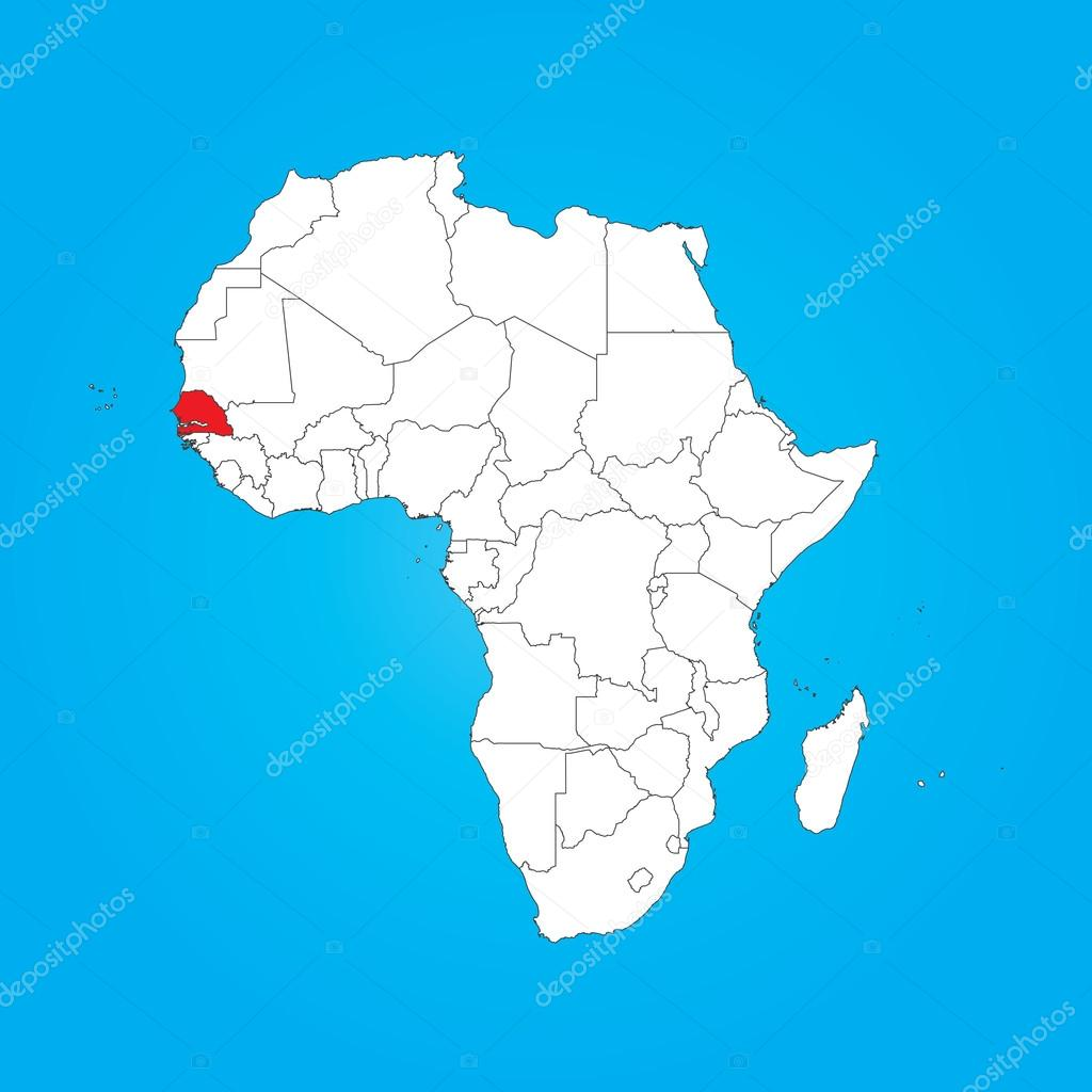Map Of Africa With A Selected Country Of Senegal Stock Photo