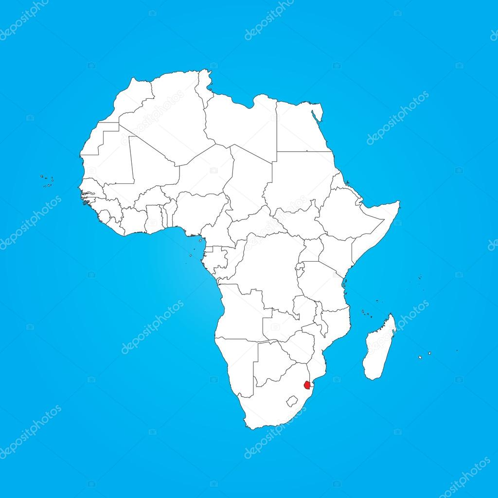 Map of Africa with a selected country of Swaziland Stock Photo