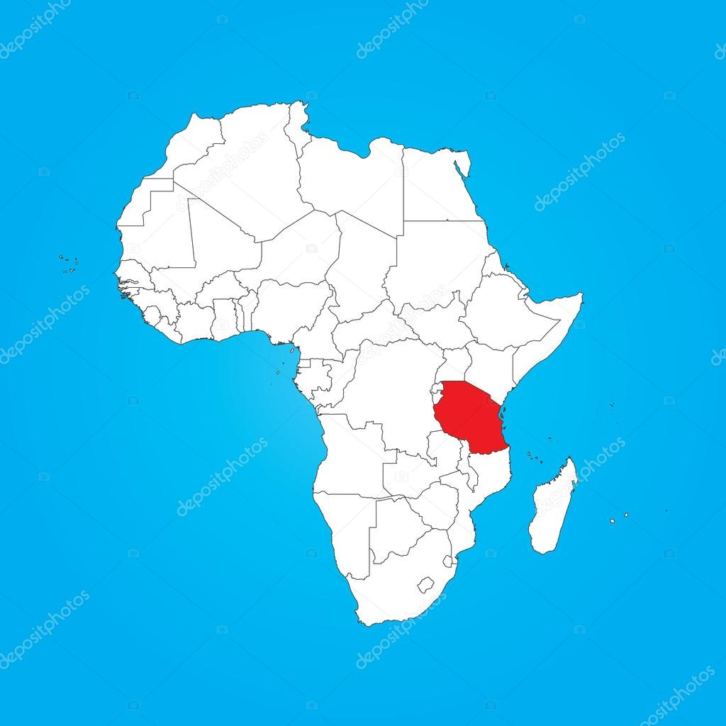 Tanzania On Africa Map.Map Of Africa With A Selected Country Of Tanzania Stock Photo