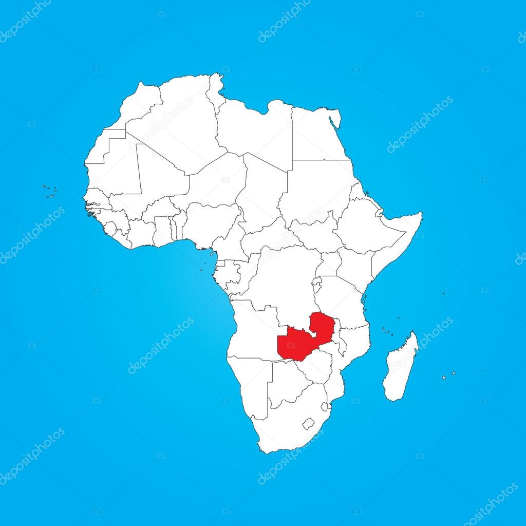 Map Of Africa Zambia.Map Of Africa With A Selected Country Of Zambia Stock Photo