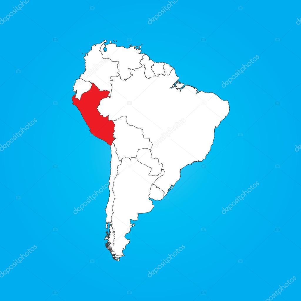 Peru Karte Südamerika.Karte Von Südamerika Mit Einem Ausgewählten Land Peru Stockfoto