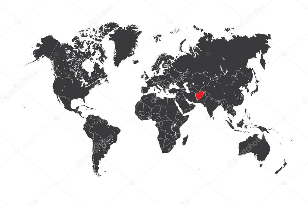 Map Of The World With A Selected Country Of Afghanistan Stock