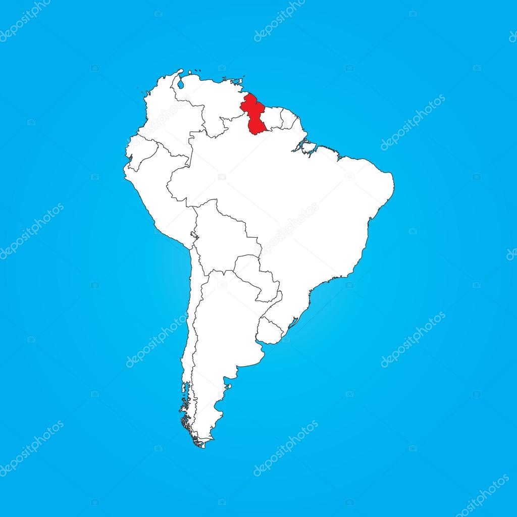 Map of South America with a selected country of Guyana — Stock Photo ...