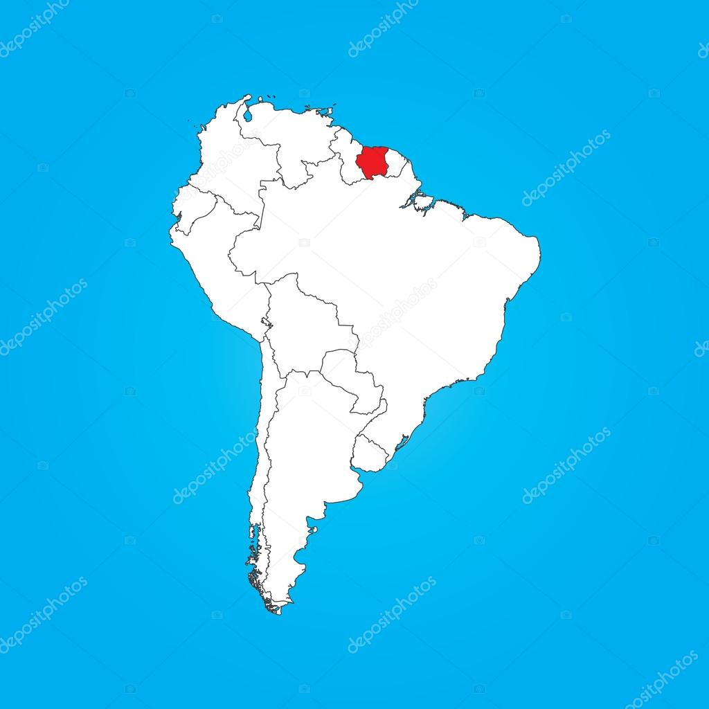Map Of South America With A Selected Country Of Suriname Stock