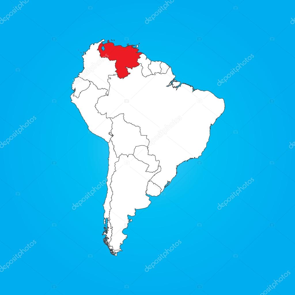 Map of South America with a selected country of Venezuela Stock