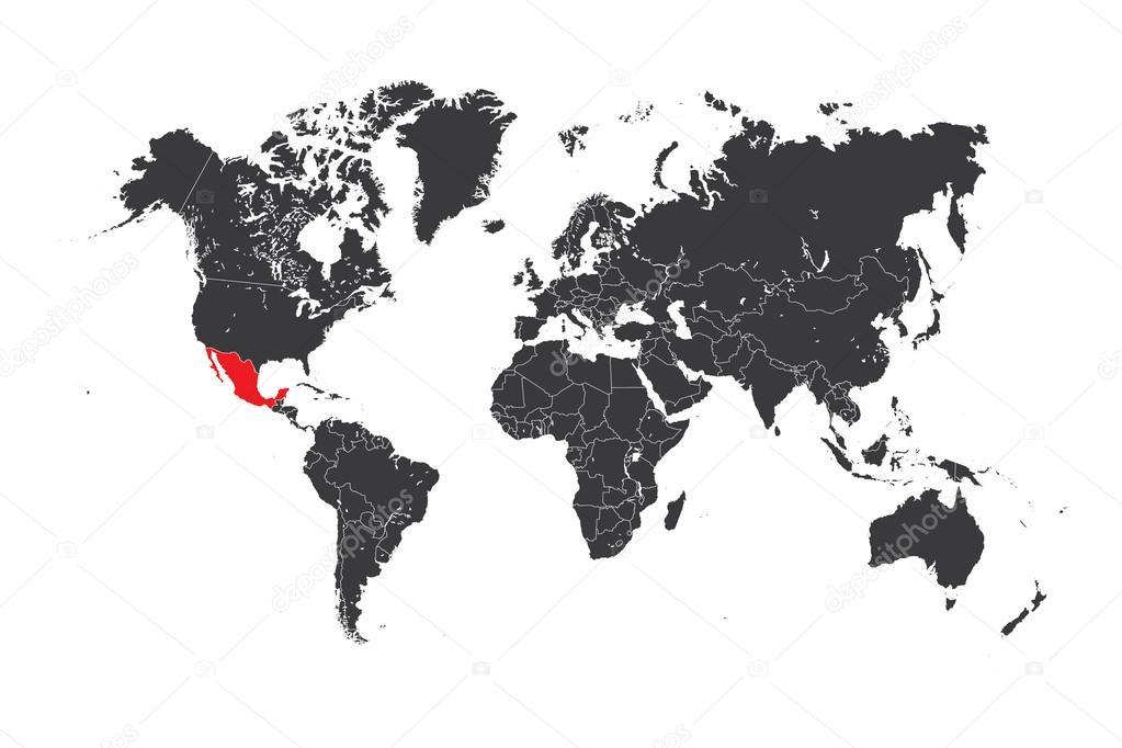 Mexiko Karte Welt.Karte Der Welt Mit Einem Ausgewahlten Land Mexiko