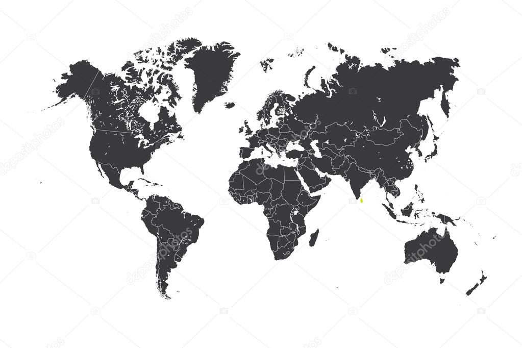 Map of the world with a selected country of Sri Lanka — Stock Photo ...