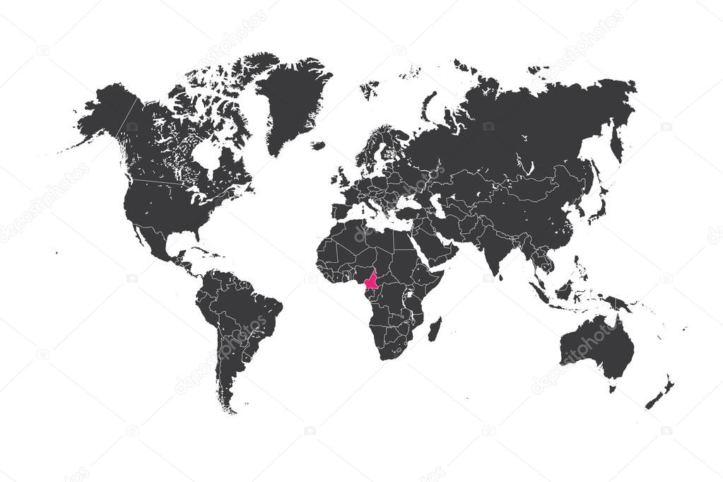 Map of the world with a selected country of Cameroon — Stock Photo ...
