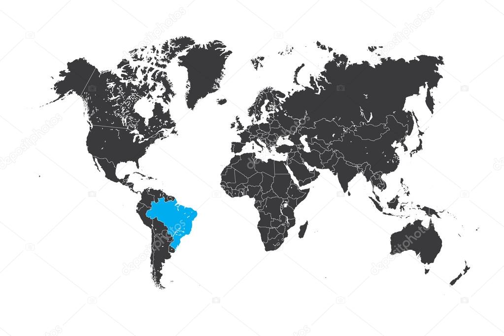 Map Of The World With A Selected Country Of Brazil Stock Photo