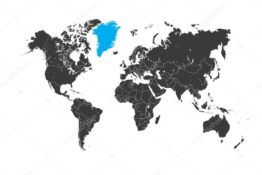 Map of the world with a selected country of greenland stock photo a map of the world with a selected country of greenland photo by paulstringer gumiabroncs Choice Image