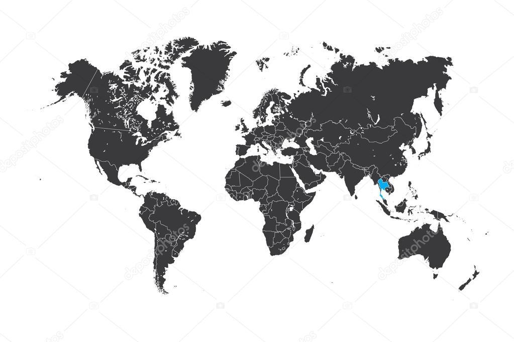 Thailand Karte Welt.Karte Der Welt Mit Einem Ausgewählten Land Von Thailand Stockfoto