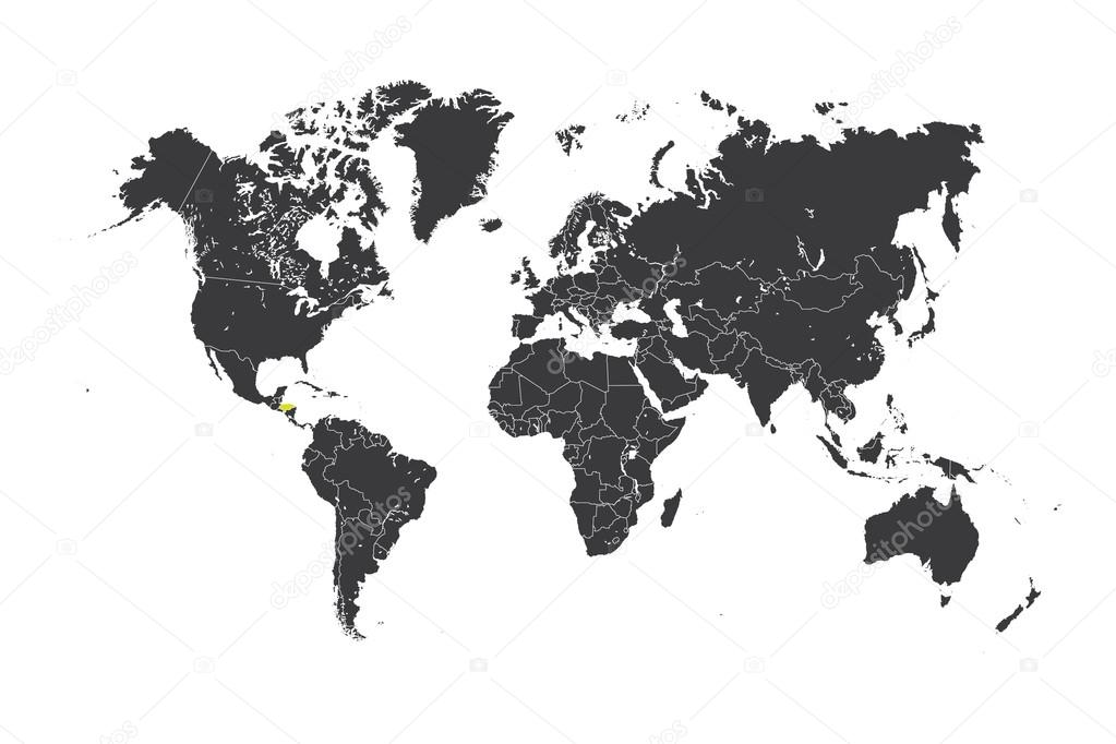 Map of the world with a selected country of Honduras — Stock Photo ...