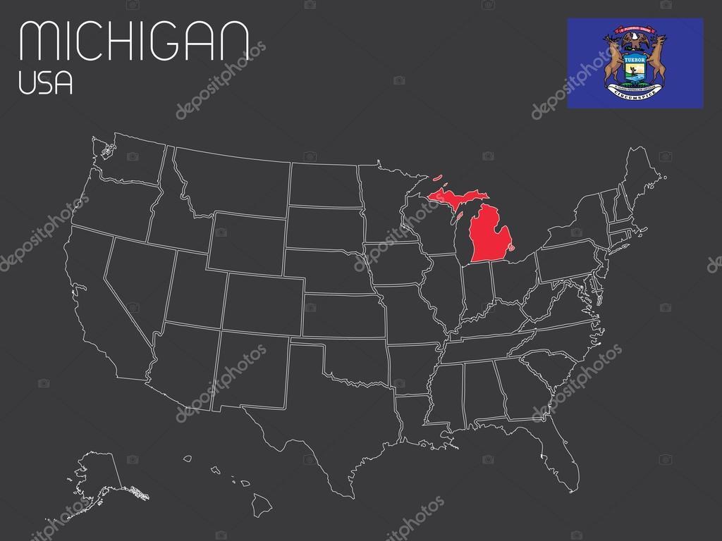 Karte der Usa mit einem Staat ausgewählt - Michigan — Stockvektor ...