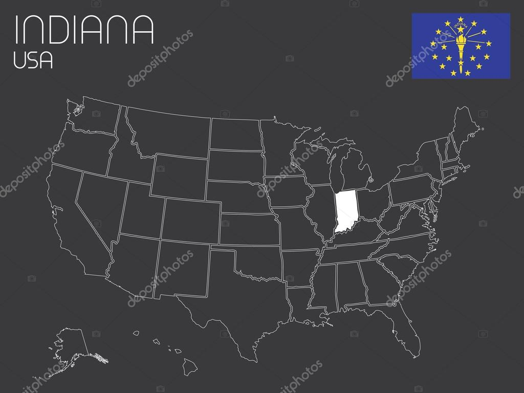 Karte der Usa mit einem Staat ausgewählt - Indiana — Stockvektor ...