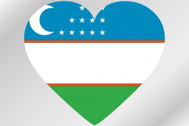 Flag Illustration of a heart with the flag of  Uzbekistan
