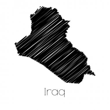 Scribbled Map of the country of  Iraq