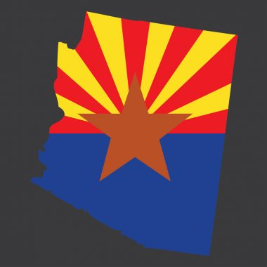 A Highly detailed map with flag inside of the state of Arizona