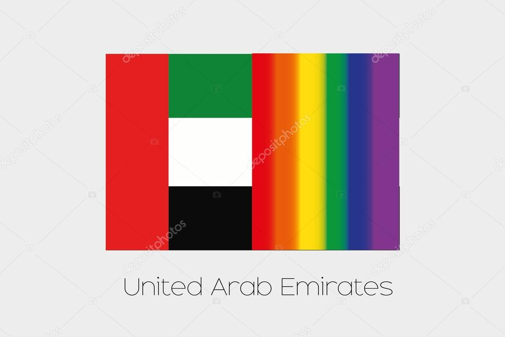 LGBT Flag Illustration with the flag of United Arab Emirates