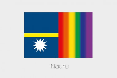 LGBT Flag Illustration with the flag of Nauru