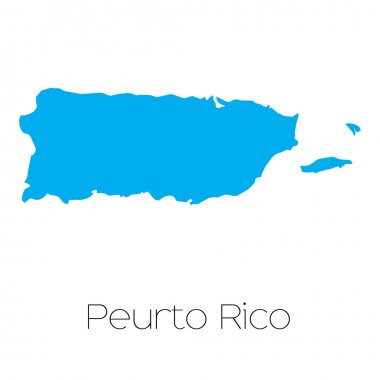 Blue shape with name of the country of Puerto Rico