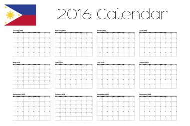 2016 Calendar with the Flag of Philippines