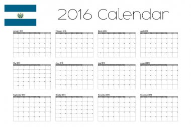 2016 Calendar with the Flag of El Salvador