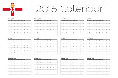 2016 Calendar with the Flag of Northern Ireland