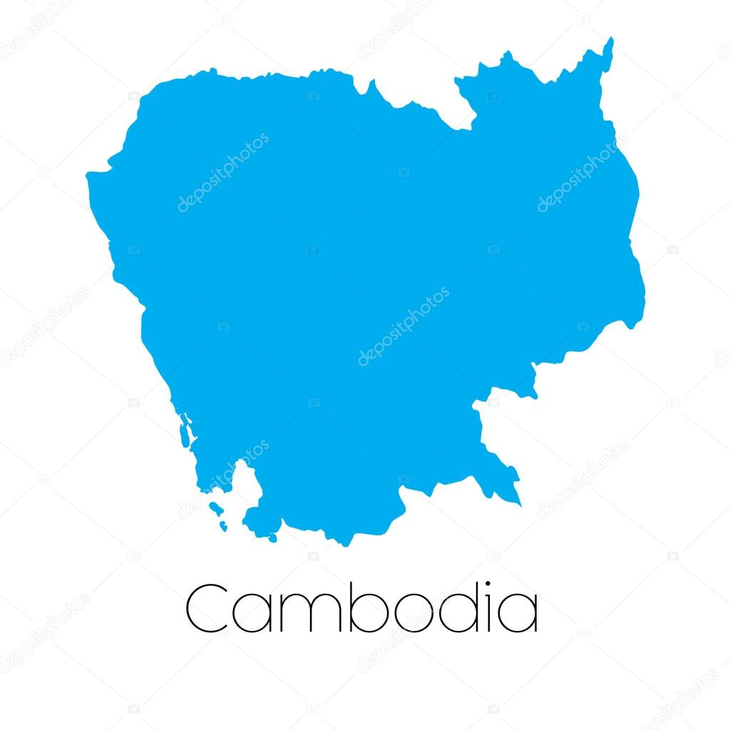 A Blue shape with name of the country of Cambodia \u2014 Vector by PaulStringer
