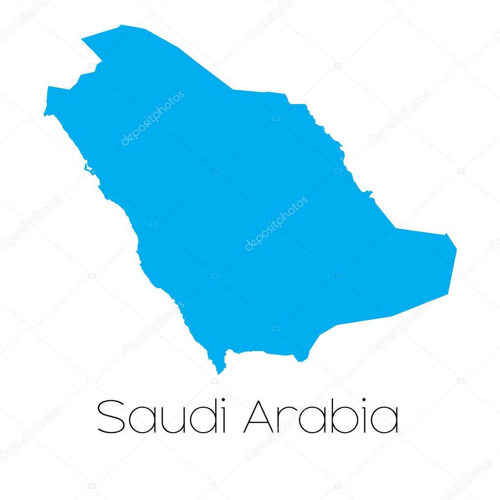 A Blue shape with name of the country of Saudi Arabia \u2014 Vector by PaulStringer