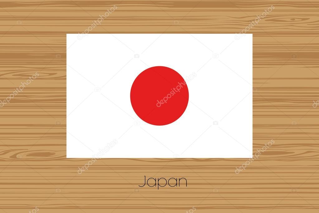 Ilustración de un suelo de madera con la bandera de Japón — Archivo ...
