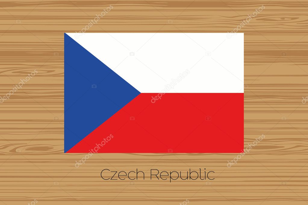 Illustration of a wooden floor with the flag of Czech Republic