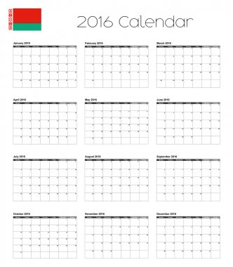 2016 Calendar with the Flag of Belarus