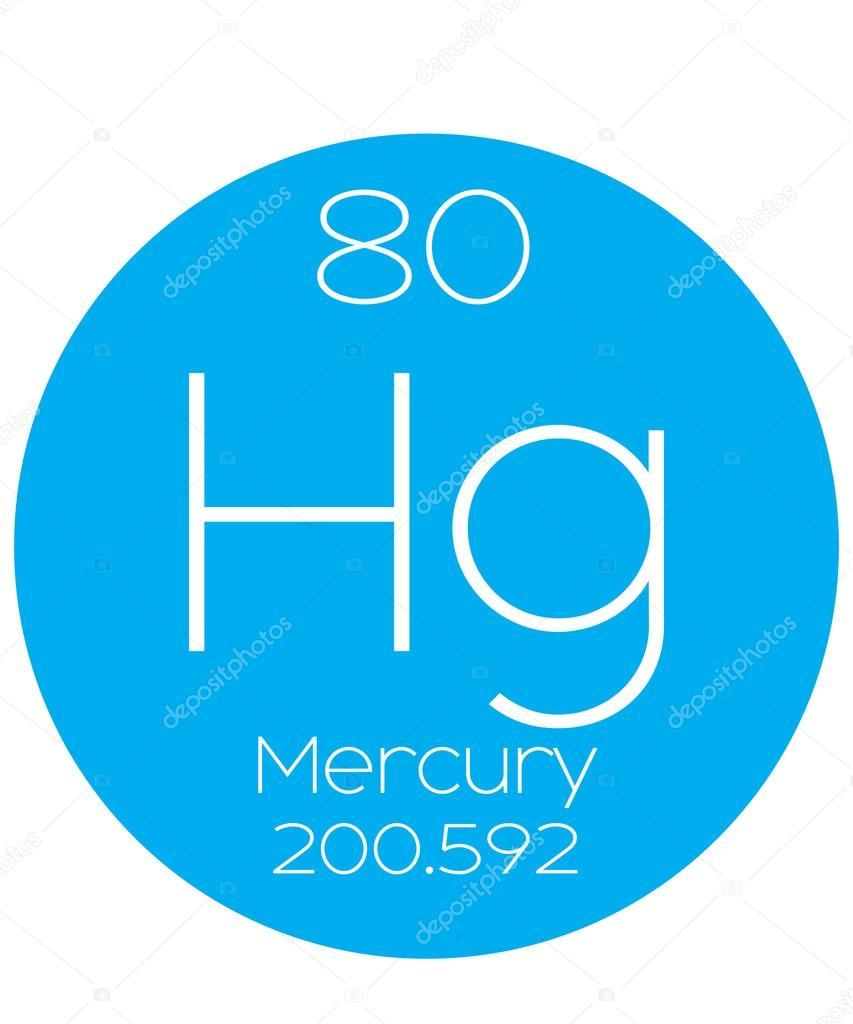 Informative Illustration Of The Periodic Element Mercury Stock