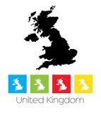 Obrysy a obarvená pole země Velká Británie