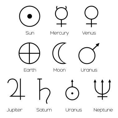 Planet Symbols - Illustration of the main symbols of astrology i