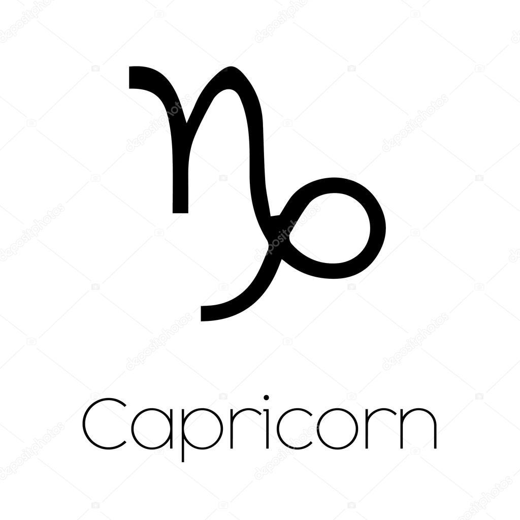 Ilustrowane Symbol Znak Zodiaku Koziorożec Grafika
