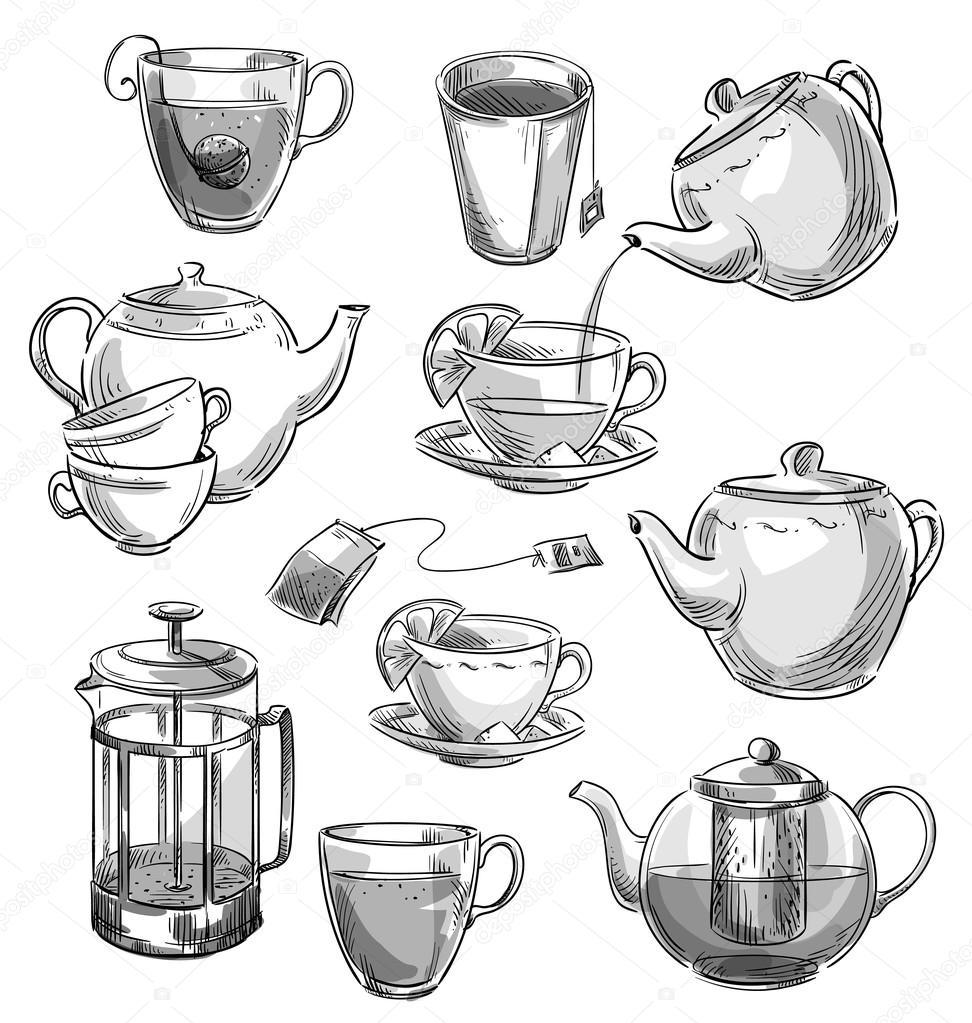 set of tea cups and teapots vector sketch premium vector in adobe illustrator ai ai format encapsulated postscript eps eps format wdrfree