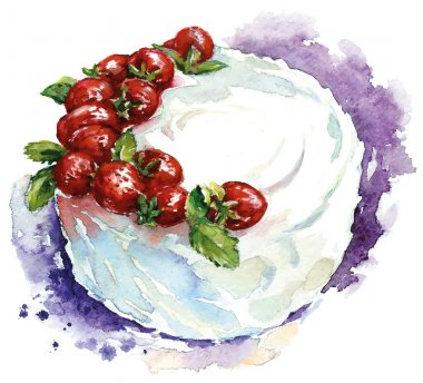 Hand painted watercolor strawberry cake. Vector illustration.